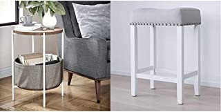 Nathan James Oraa Round Wood Side Table with Fabric Storage, Light Brown/White & Hylie Nailhead Wood Pub-Height Kitchen Counter Bar Stool, 24, Gray/White