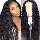 4x4 Lace Front Closure Human Hair Wigs Glueless Hair Deep Curly Wig Malaysian Remy Human Hair Wave Lace Closure Wigs For Black Women Pre Plucked With Baby Hair 150% Density 20 Inch