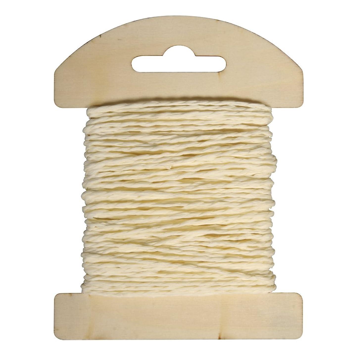 Rayher 55352154 Paper Cord 1.2 mm Diameter on Wooden Card 10 m Vanilla
