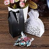Foonii 100 Stück Süßigkeiten Schachtel Hochzeitskasten Bonbons Schachtel für Hochzeit, (50 Paar) Hochzeit Brautkleid Entwurf Brautpaar Gastgeschenk - 7