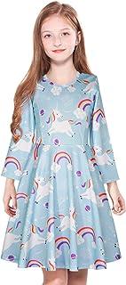ModaIOO Girls Dress Long Sleeve Casual Unicorn Dinosaur Mermaid Floral Print Play Dresses for Kids