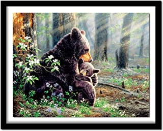 Huanxidp New Diamond Painting Cross Stitch Natural Scenery Full Square/Round Diamond Bear Family 5D Diamond Embroidery Fat...