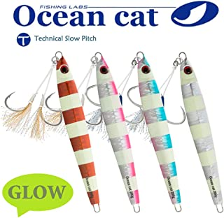 OCEAN CAT 1 PC Slow Fall Pitch Fishing Lures Sinking Lead Metal Flat Jigs Jigging Baits with Hook for Saltwater Fishing 4 Colors 160G/200G