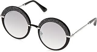 Metal Oval Modified Sunglasses 50 0IXA Matte Black Palladium FU violet silver mirror lens