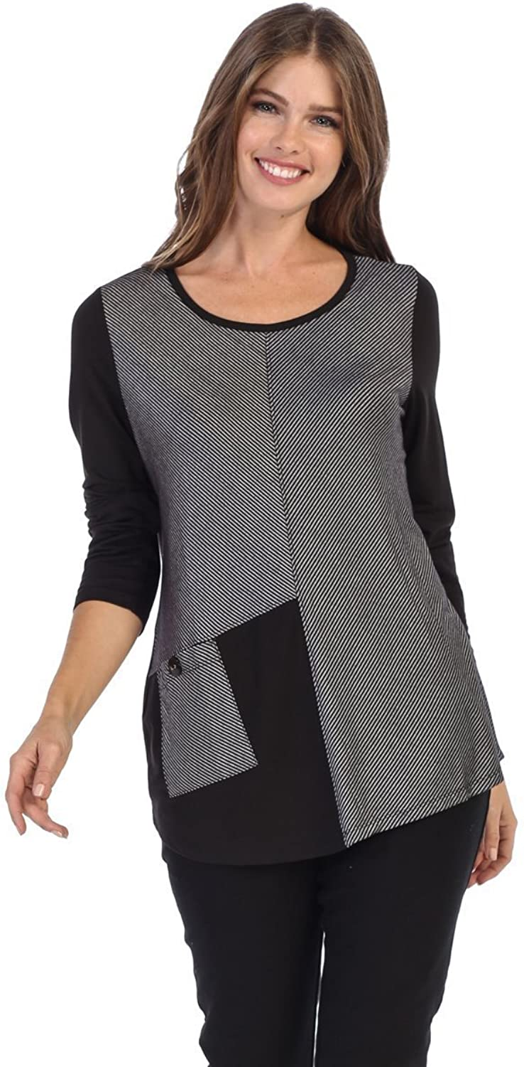 Fashion Focus color Block Long Sleeve Top with Front Pocket