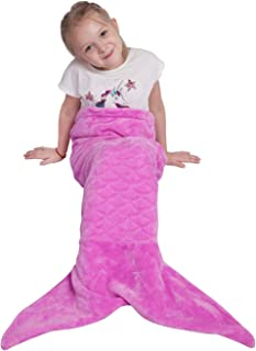 Kids Mermaid Tail Blanket,Plush Soft Flannel Fleece All Seasons Sleeping Blanket Bag,Plain Fish Scale Design Snuggle Blanket,Best Gifts for Girls,17
