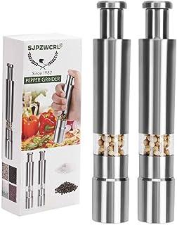 Sjpzwcrl Pepper Grinder, Stainless Steel Pepper Mill Durable Salt Grinder One Hand..