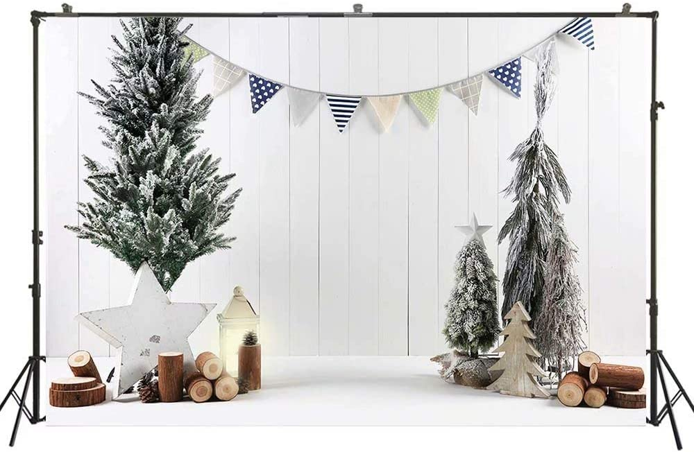 White Christmas Photography Backdrop 10x8ft Baby Photo Background Banner Xmas Tree Props W-4312