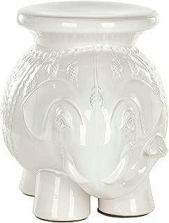 ceramic elephant stool white
