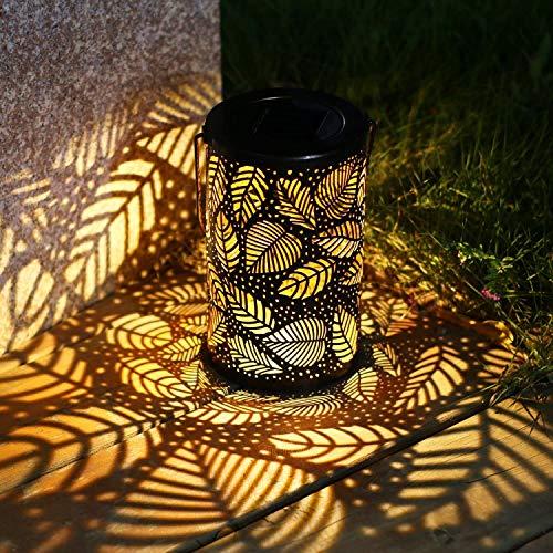 LED Solar Laterne für außen, Hängende Solarleuchten Garten Tischlaterne mit Griff, Retro Metallblattmuster Wasserdichte Bronze Fertig für Patio Yard Pathway Tisch dekorativ [Warmweiß]