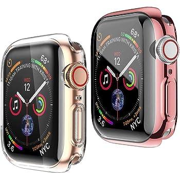 (2個) Apple Watch Series 6 / SE/Series 5 / Series 4 44mm ケース アップルウォッチ カバー 柔らかい TPU 全面保護ケース 耐衝撃 薄型 保護フィルム フルカバー 傷防止 (1ローズピンク+1クリア)