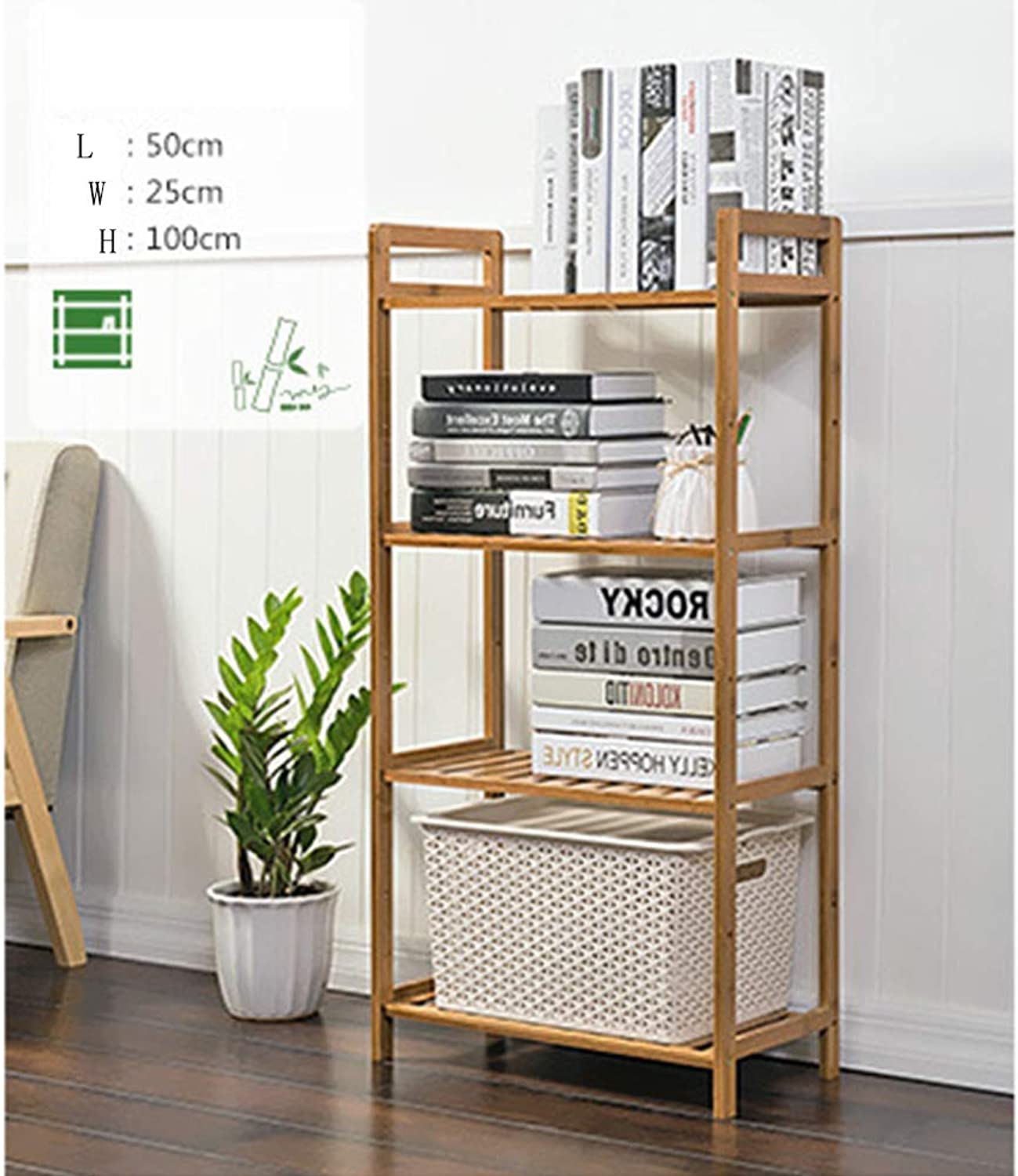 4 Tiers Detachable Natural Bamboo Simple Bookshelf Modern Cabinet Storage Rack Student Bookcase Rack Self Assembly,50Cm