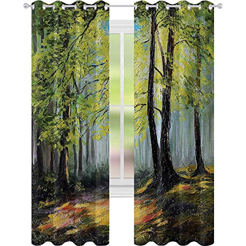 Cortinas para oscurecer la habitación, pintura paisaje de un bosque oscuro y profundo con colores frescos en la imagen de la naturaleza otoñal, 52 x 108 cortinas de ventana para habitación de bebés, multi