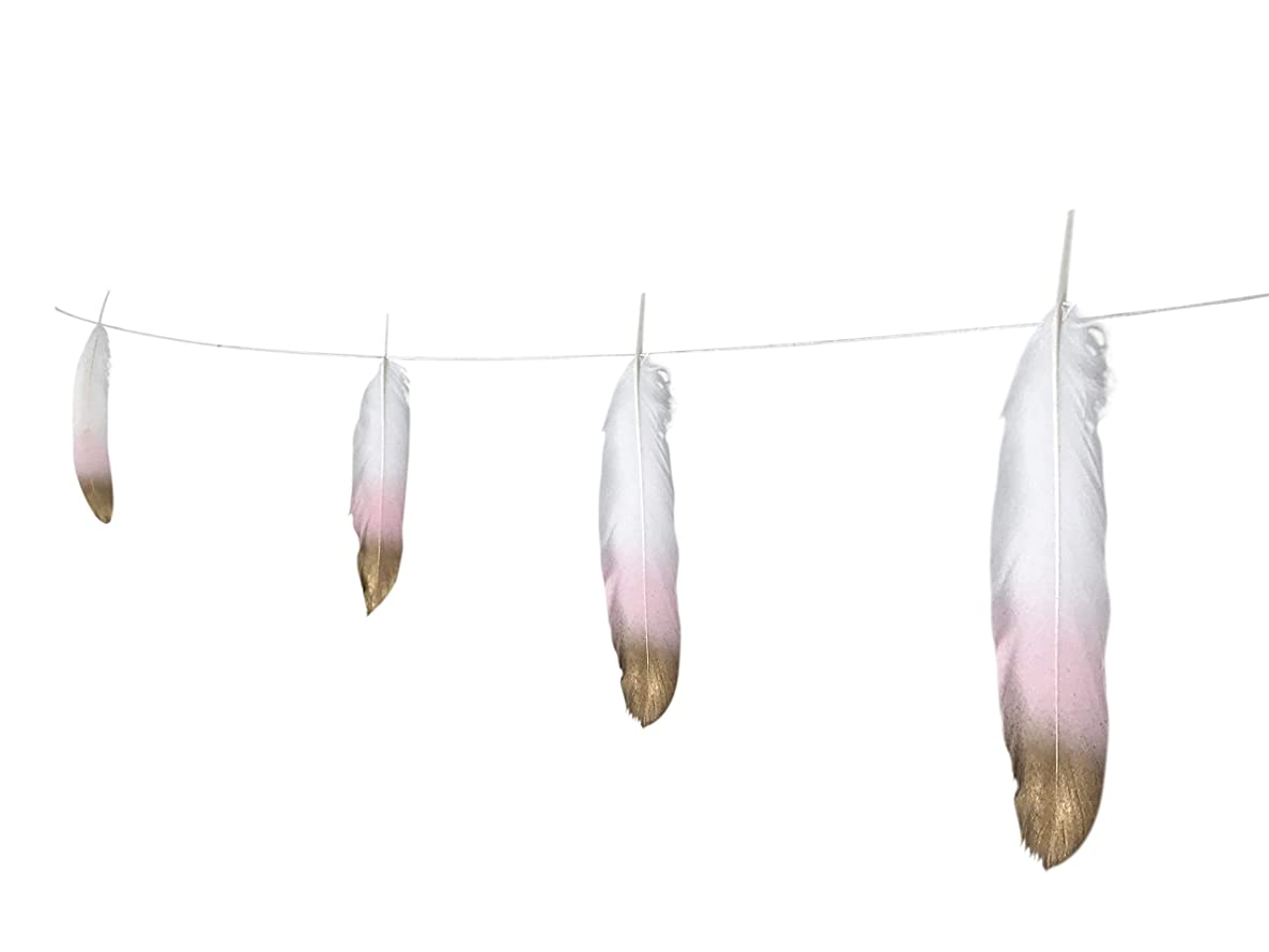Feather Garland Decorations 10 Foot on a String Banner, Blush Pink and Gold Dipped Glitter Tipped White, Tribal Nursery, Girls Dorm Room, Boho Chic