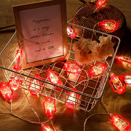 2 Strings Set, Lantern String Lights 9.8ft of 40 LED Lights Mini Vintage Halloween Decorative Kerosene String Lights for Patio Garden Home Holiday Decoration, Warm White Light (Red)