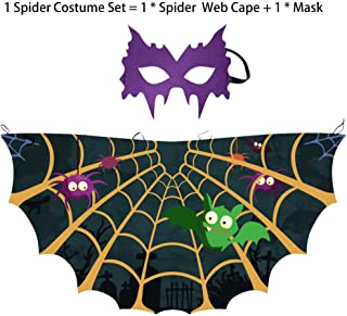 Kids Butterfly Spider Web Cape Mask Costume for Boys Girls Halloween Dress Up Cosplay Accessories