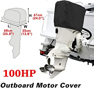 dDanke Black Boat Outboard Motor Hood Cover Waterproof Engine Cover Fit for 100HP Horse Power 26.8x13.8x24 Inch