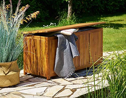 Gartentruhe Auflagenbox mit Innenplane Akazienholz 117cm - 2