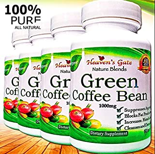 Green Coffee Bean Extract - All Natural Weight Loss Supplement - 1000 mg - 240 Capsules 4 Month Supply - 100% Pure - Appetite Suppressant Diet Pills - Detox - Boosts Energy & Metabolism (4)