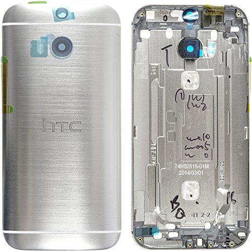Original HTC Akkudeckel / Backcover für das HTC One M8 - silver / silber (Akkufachdeckel, Batterieabdeckung, Rückseite, Back-Cover) - 74H02454-05M