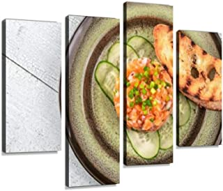 4 Panel Salmon tartare Canvas Print Pictures Modern Home Decor Posters Gifts Abstract Photo Canvas Wall Art for Home Offic...