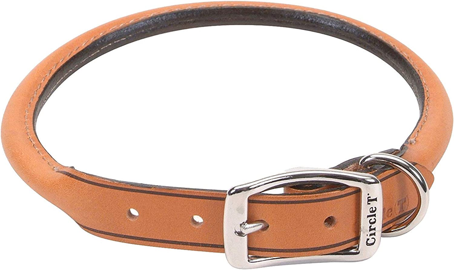 Coastal Pet Products DCP120620TAN Leather Circle T Oak Tanned Round Dog Collar, 20 by 3 4Inch, Tan