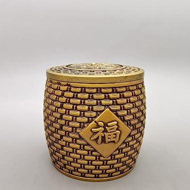 HYLSTJK Copper Cylinder Decoration Brass Blessing jar Home Decoration Living Room Office Crafts