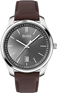 Hugo Boss Mens Quartz Watch, Analog Display and Leather Strap 1513726