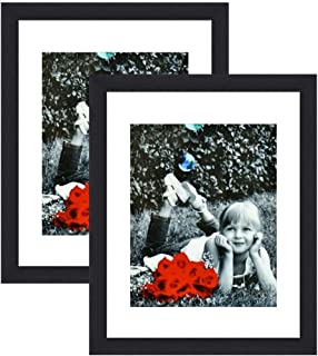 11x14 Inch Picture Frame Black (2-pack) - HIGH DEFINITION GLASS FRONT COVER - Displays 11 by 14