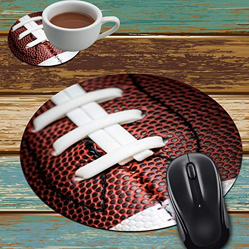 Mouse Pad and Coaster Set, American Football Mouse Pad Round Non-Slip Rubber Mousepad Office Accessories Desk Decor Mouse Mat for Desktops Computer Laptops