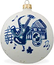BestPysanky Saxophone, Guitar, Piano Music Instruments Glass Christmas Ornament 3.25 Inches