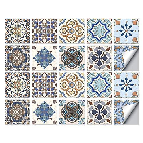 Pegatinas para Azulejos, Autoadhesivas Impermeables Medioambientales Marroquíes Bricolaje Azulejos Transferencias Cerámica Turca Estilo Pegatinas para Cocina Baño Decoración Hogar (10 x 10 cm,C-20PCS)