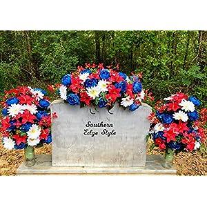 Cemetery Flower Set, Saddle and Two Vase Arrangements, Patriotic Headstone Flowers