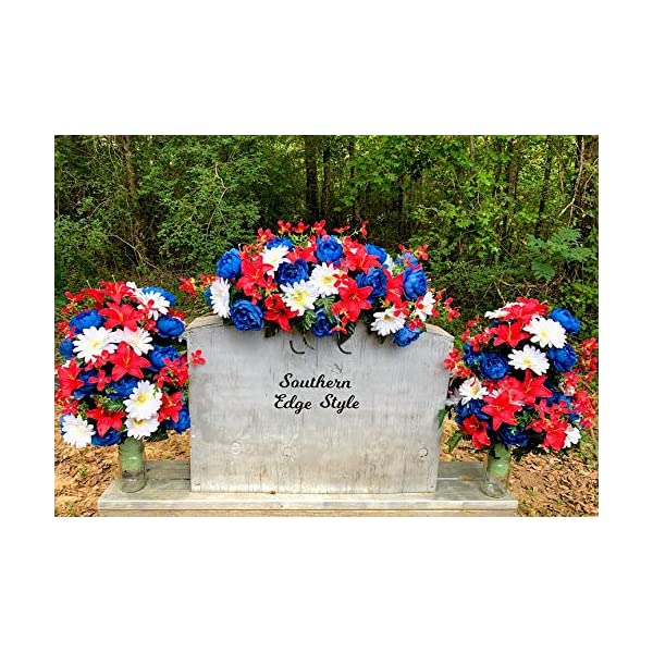 Cemetery Flower Set, Saddle and Two Vase Arrangements, Patriotic Headstone Flowers