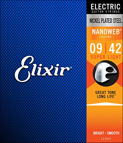 Cuerdas para guitarra eléctrica de 12 cuerdas Elixir Strings con recubrimiento NANOWEB,...