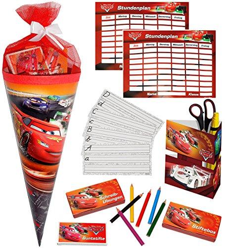 alles-meine.de GmbH 1 Set _ gefüllte Schultüte -  Disney Auto Cars - Lightning Mc Queen  - Lern & ABC Schreibspiele - Stiftebox - Stundenplan - Stifte - Zuckertüte gefüllt - Le..