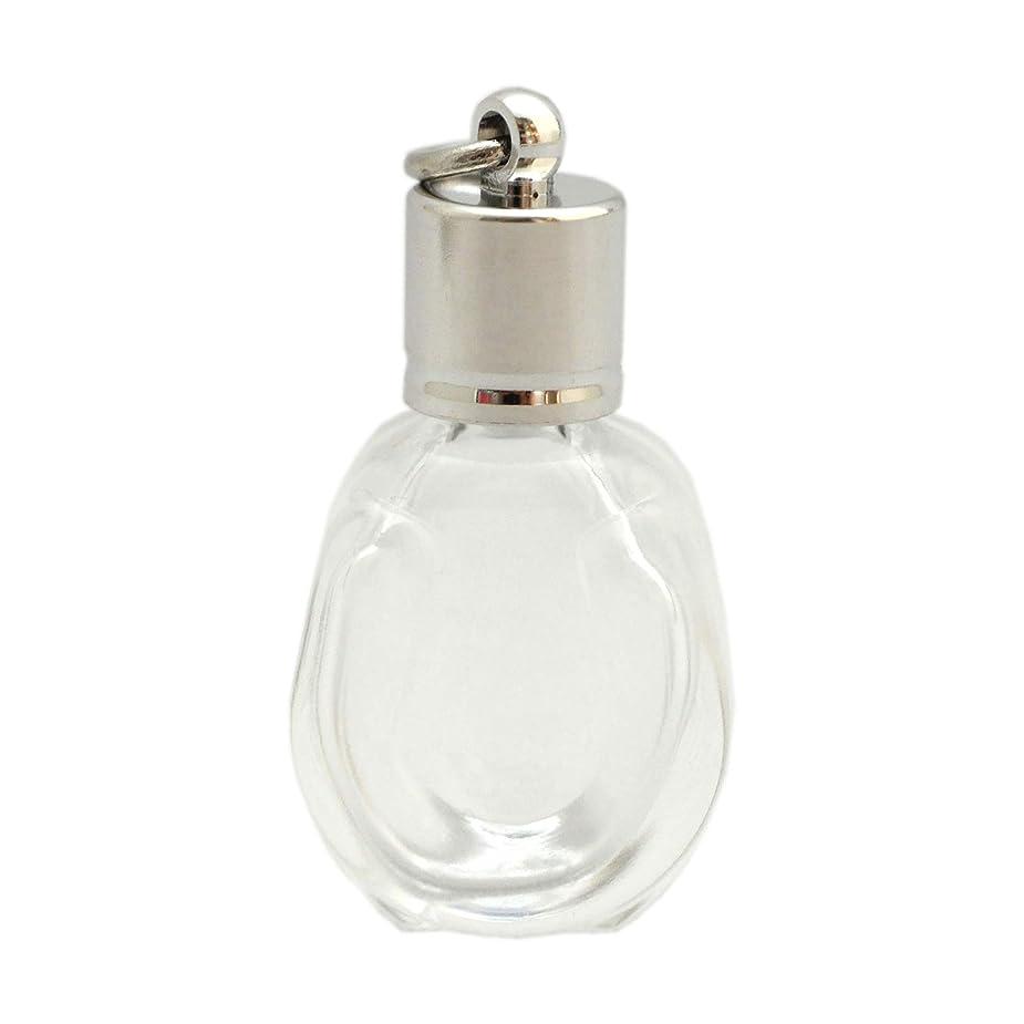 ネックレットレオナルドダ口ひげミニ香水瓶 アロマペンダントトップ 馬蹄型(透明 容量1.3ml)×穴あきキャップ シルバー