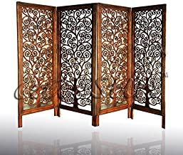 Aarsun Woods 4 Panel Mango Wood Partition Room Divider and Screen -4 ft