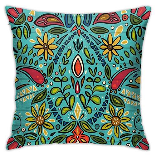 Funda de almohada, color turquesa, moderna funda de cojín cuadrada, decoración para sofá, cama, silla, coche, 45,7 x 45,7 cm