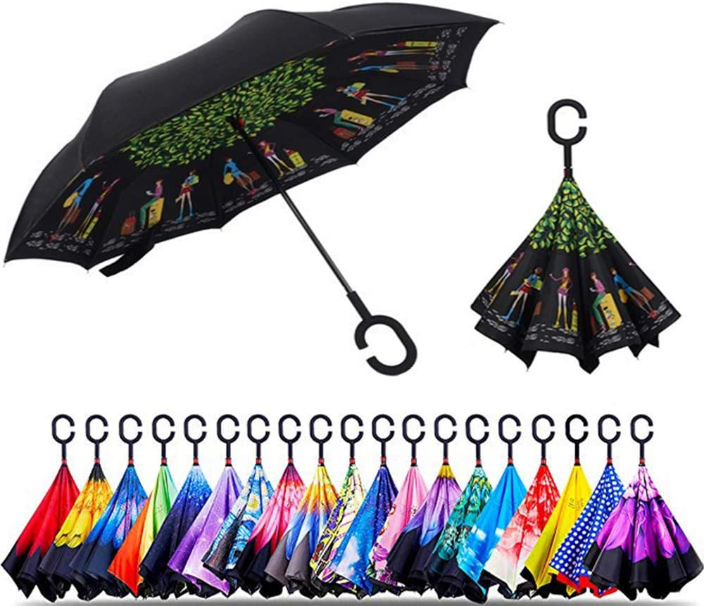 Reverse Folding Umbrella for Car Double Layer Inverted Umbrellas with Watercolor Wolf Splash Print