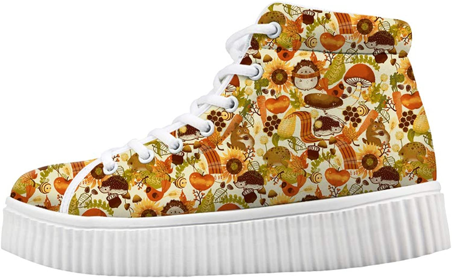 Owaheson Platform Lace up Sneaker Casual Chunky Walking shoes High Top Women Fall Apple Bee Sunflower Hedgehog Squirrel