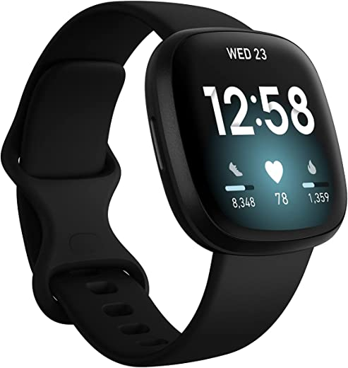 Fitbit Versa 3 Health & Fitness Smartwatch W/ Bluetooth Calls/Texts, Fast Charging, GPS, Heart Rate SpO2, 6+ Days Battery (S & L Bands, 90 Day Premium Included) International Version (Black Aluminum)