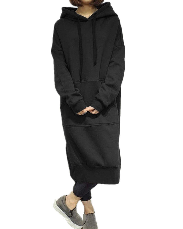 StyleDome レディース ロング パーカー フード付き トップス ワンピース 長袖 厚手 ポッケト スリーブ かわいい 通学 おしゃれ 体型カバー ワンピース