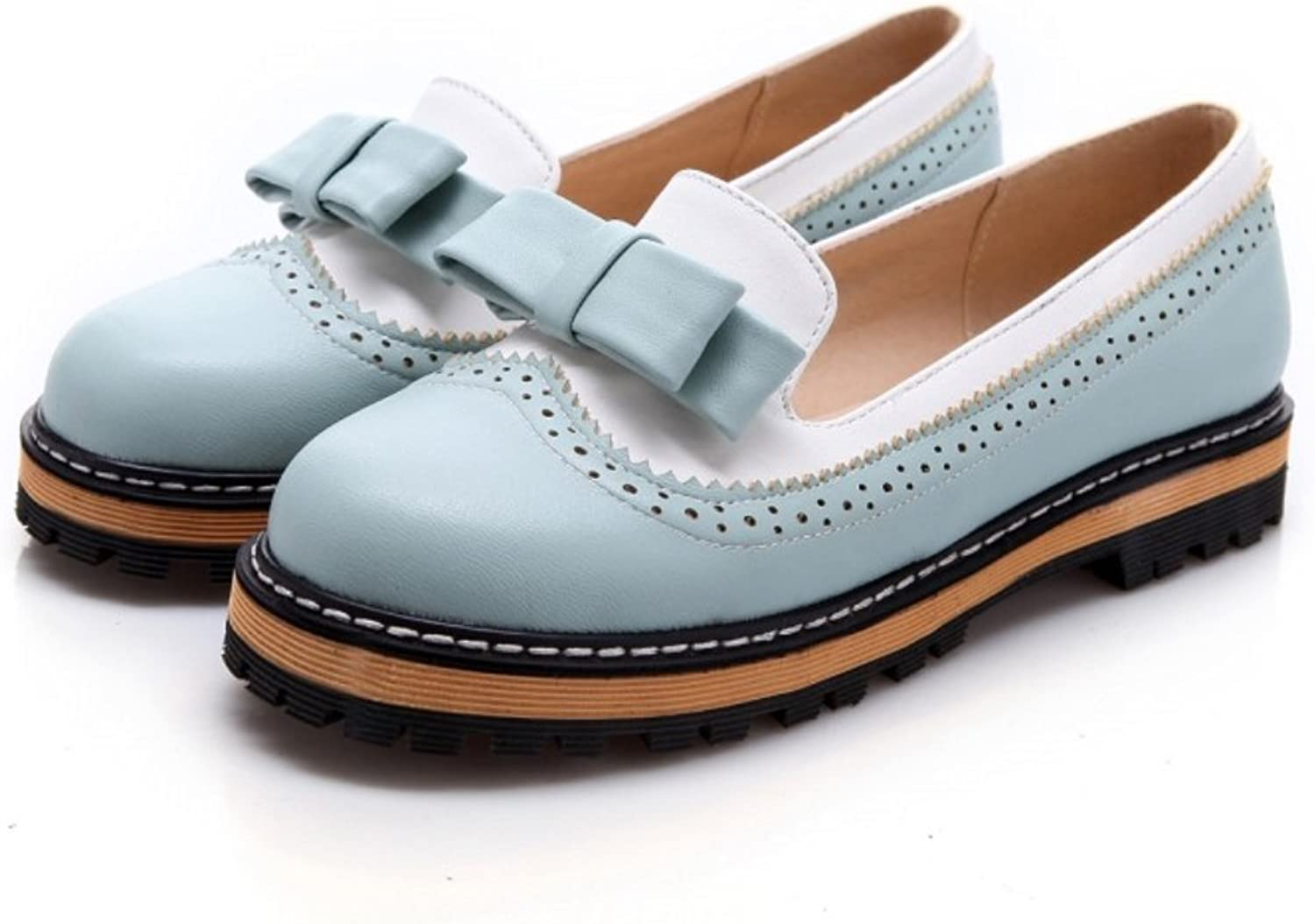 Unanshengenefi Women's Low Heel Bow Candy color Oxford shoes