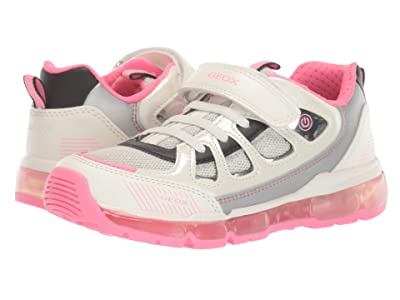 Geox Kids Android 28 (Little Kid/Big Kid) (White/Fuchsia) Girl
