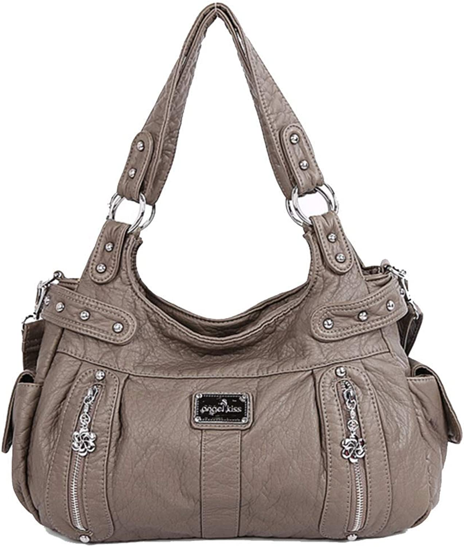 YaJaMa Women Front Zippers Washed Leather Shoulder Crossbody Bag Travel Daily Use Handbag