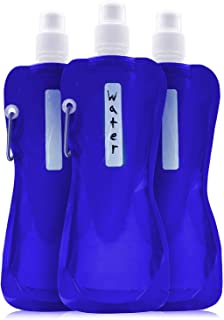 Collapsible Water Bottle - 6-Pack 16 oz Foldable BPA Free Canteen Drinking Bottles with Carabiner for Travel
