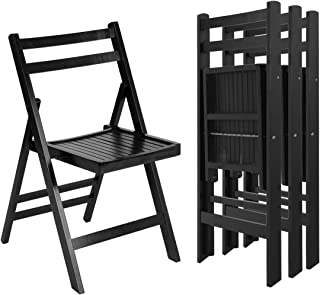 Patio Set of 4 Solid Wood Folding Black Chairs Slatted Seat Wedding Garden Furniture