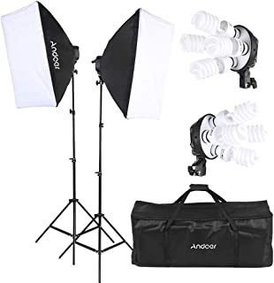 Andoer Studio Photo Lighting Kit with 2 * Softbox / 2 * 4in1 Bulb Socket / 8 * 45W Bulb / 2 * Light Stand / 1 * Carrying B...