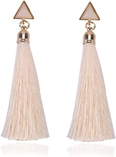 Bohemian Earrings Geometric Triangle Long Hanging Tassels Earrings Women Ladies Ethnic Hanging Rope Jewelry for Party Beach - White
